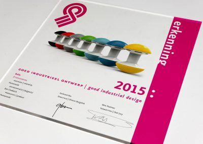 """Eén van de """"Goed industrieel ontwerp"""" Erkenningen 2015"""