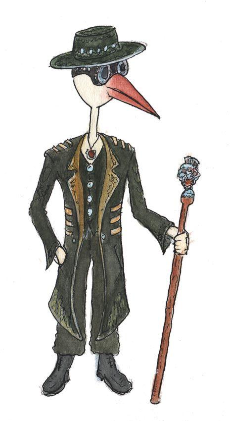 Illustratie/ aquarelle Stork die rechtop staat