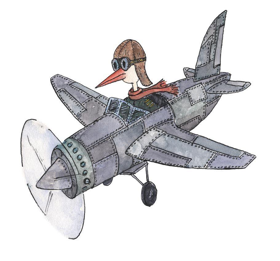 Illustratie/ aquarelle van Stork in vliegtuig