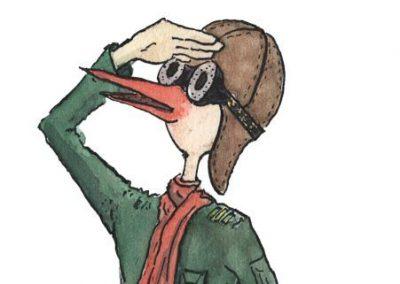 Illustratie/ aquarelle van Stork die in de verte kijkt