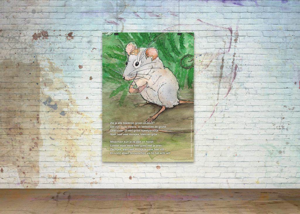 Getekende gedichten Poster 'Muis'