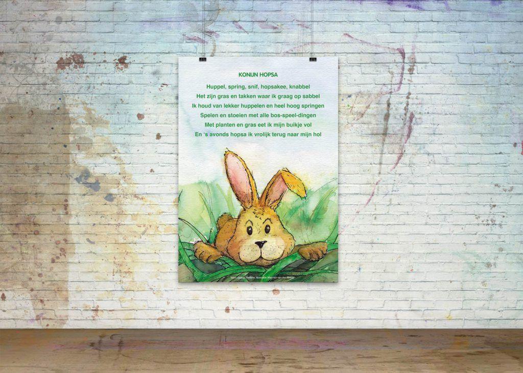 Getekende gedichten Poster 'Konijn Hopsa'