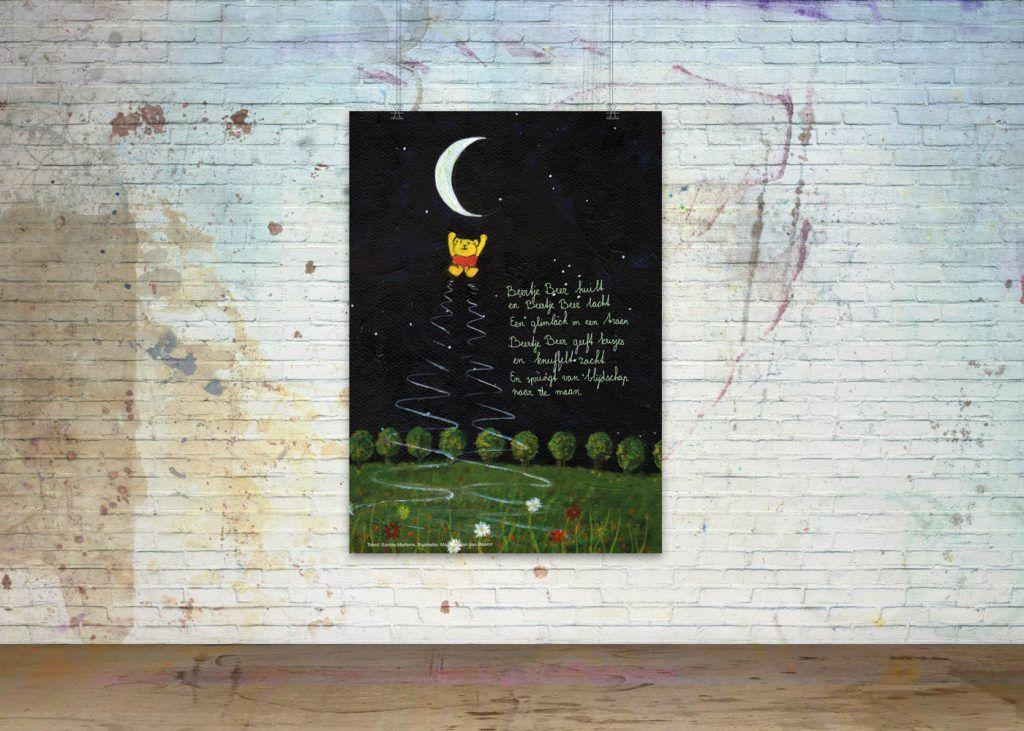 Getekende gedichten Poster 'Beertje Beer springt naar de maan