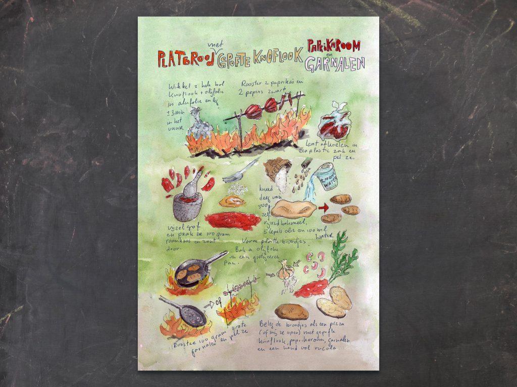Geïllustreerd recept, Platbrood met gepofte knoflook