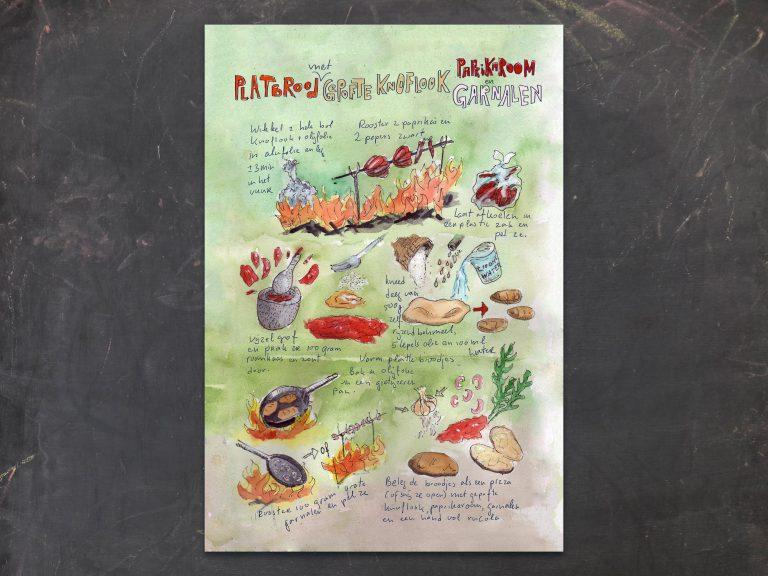 Illustrated recipe, Flatbread with roasted garlic