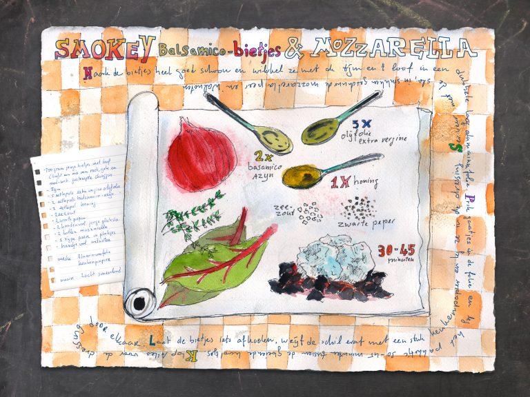 Illustrated recipe, Smokey basamico beets